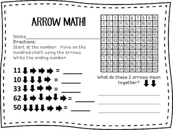 Arrow Math-Addition and Subtraction on a Hundred Chart 1st, 2nd, 3rd, Homeschool