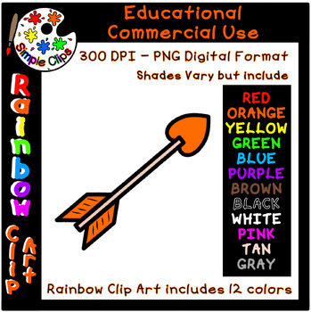 Arrow - Rainbow Clipart - 12 Colors - Commercial Use {Simple Clips}