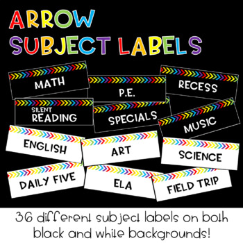 Rainbow Arrow Subject Labels : Classroom Decor
