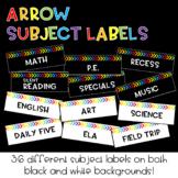 Rainbow Arrow Subject Labels : Classroom Decor