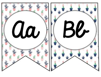 Cactus Themed Alphabet Bunting Posters