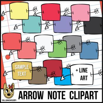 Arrow Through Paper Notes Clip Art
