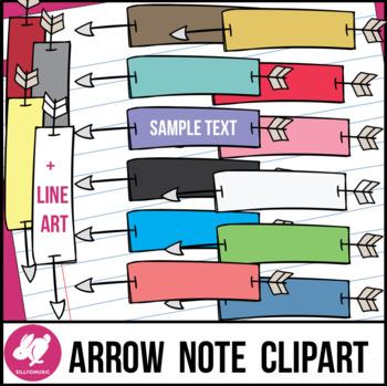 Arrow Through Skinny Paper Notes Clip Art