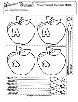 Letter A Arrow Through the Apple Match