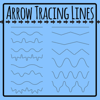 Arrow Tracing Left to Right Pencil Control Clip Art Set for Commercial Use