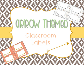 Arrow and Tribal Theme Classroom Labels - CORAL NAVY MINT GOLD