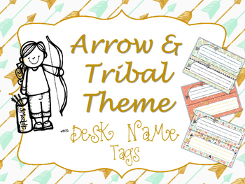 Arrow and Tribal Theme Desk Name Tags CORAL MINT NAVY GOLD