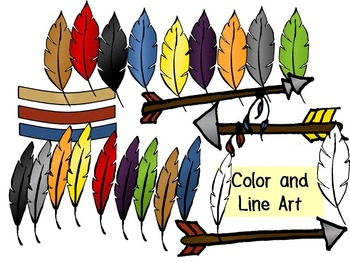 Arrow and Feather Clip Art- Color and Line Art 30pc set