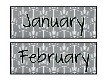 Arrow and Tribal Classroom Calendar Theme Pack