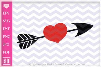 Arrow heart svg - Valentine Svg -2 Valentine hearts - Arrow  SVG