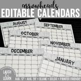 Editable Calendar // Arrows {August 2017 - 2020}