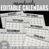 Editable Calendar // Arrows {August 2017 - 2020}