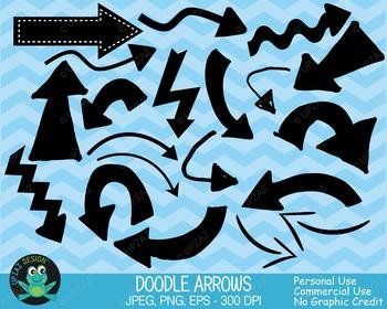 Arrows Clipart, Arrows and Pointers, Arrow Icons, Doodle Arrows, Vector Graphics