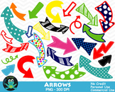 Polka Dot Arrows, Doodle Arrows {Upzaz Digital Clipart}