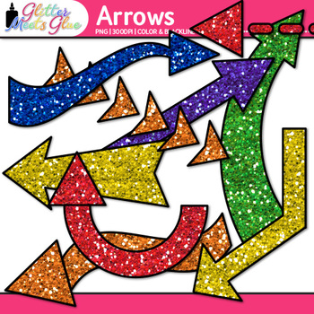 Rainbow Arrows Clip Art {Glitter Pointers for Worksheets, PowerPoint}
