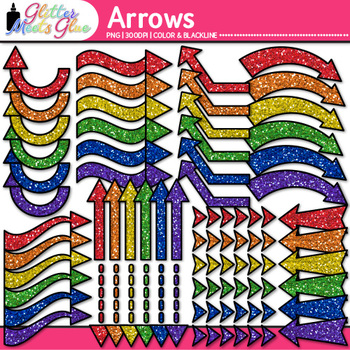 Rainbow Arrows Clip Art   Glitter Pointers for Worksheets, PowerPoint