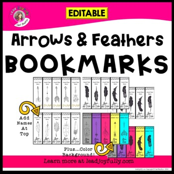 Arrows & Feathers Editable Bookmarks