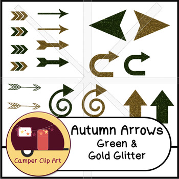 Arrows Green & Gold Glitter! {CU - Commercial Use ok!}