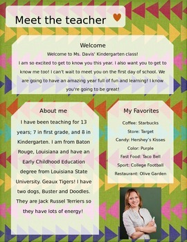 Arrows Meet The Teacher Template **Editable**
