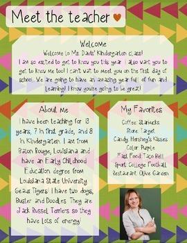 Arrows Meet The Teacher Template **Editable**