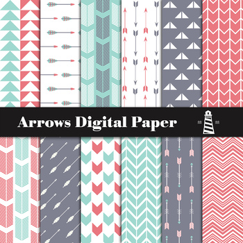 Arrows Scrapbooking Papers Teal And Red Digital Paper, Arrow Backgrounds