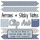 Arrows & Sticky Notes Clip Art - Sky Palette - Use with Di