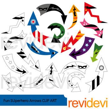 Arrows clip art: Fun Superhero Arrows clipart