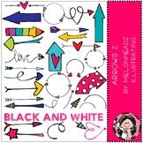 Arrows clip art - Set 2 - BLACK AND WHITE - Melonheadz Clipart