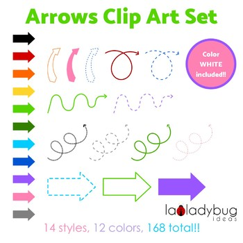 Arrows clip art set. 168 arrows.14 styles/12 colors. PNG files.