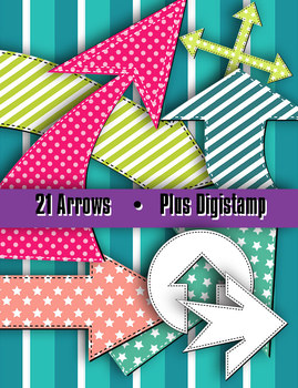 """Arrows in Stitches • 21 Shapes • 8 – 10"""" Wide • Clip Art Digital Stamp • 300 DPI"""
