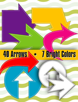 """Arrows in Stitches 7 Bright Colors • 40 Shapes • 8 - 10"""" • 300 DPI • Digistamp"""