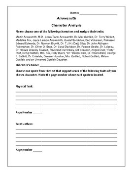 Arrowsmith Character Analysis Activity - Sinclair Lewis