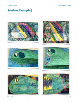 Sneaky Piranhas - Art 1-2-3 Lesson - Art Lesson for the Classroom Teacher