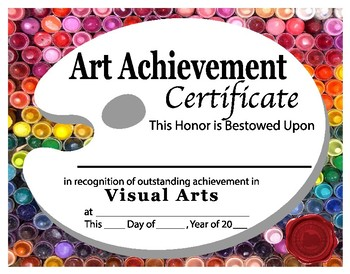 art achievement certificate by georgia white art tpt