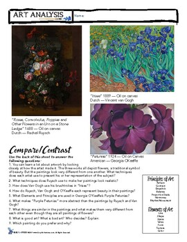 Art Analysis Compare & Contrast - 3 Floral Paintings Worksheet - Sub Plan++