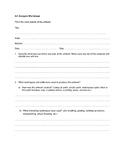 Art Analysis (Criticism) Worksheet Handout