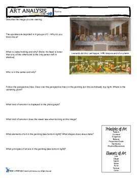 "Art Analysis Critique Worksheet - Leonardo Da Vinci ""The Last Supper"""