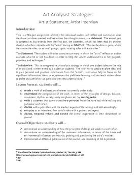 Art Analysis Strategies: Artist Statement, Artist Interview