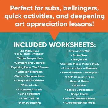Art Appreciation Printable Worksheet Bundle - 20 Ready-to-Use Worksheets