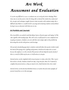 Art Assessment - Journal Forms