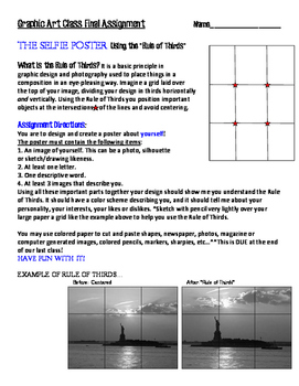 "Art Lesson Printable Assignment: ""Selfie Poster"""