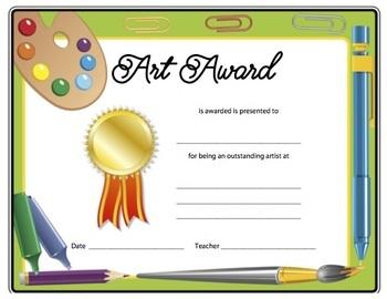 Art Award and Certificated for Elementary Art - Art Supplies Border
