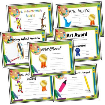 Art Award and Certificate for Elementary Art - Art Supplies Border