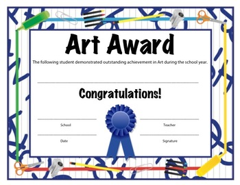 Art Award and Certificated for Elementary Art - Art Supplies Border