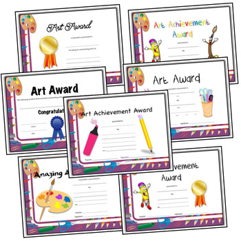 Art Award and Certificated for Elementary Art - Colored Art Border