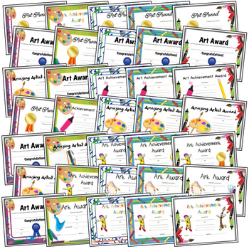 Art Award Bundle and Certificated for Elementary Art 35 Certificates
