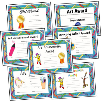 Art Award and Certificated for Elementary Art - Crayon Border