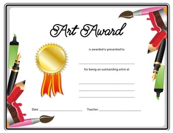 Art Award and Certificated for Elementary Art - Pen and Brush Border