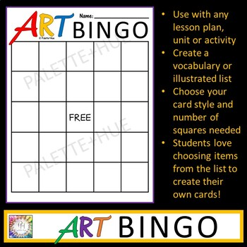 Art BINGO Student Created Game   Introductory or Review Activity