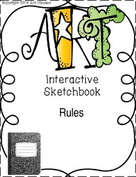 Art Back to School Interactive Notebook / Sketchbook Rules Printout